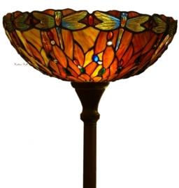 """5466 V5495 Vloerlamp H180cm met Tiffany kap Ø45cm """"Libelle Rood"""""""