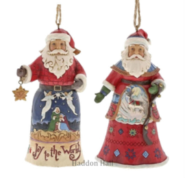 Set van 2 Hanging ornament H12cm Joy to the World - Lapland Santa