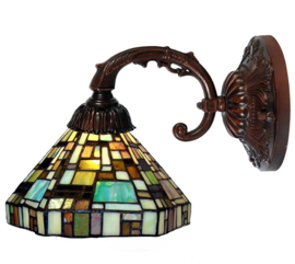 1150 8829 Wandlamp met Tiffany kap Ø25cm Art Deco Green
