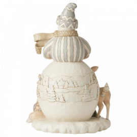 White Woodland Snowman Statement Figurine H46cm! Jim Shore 6006575