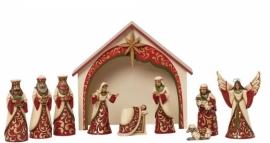 Ivory & Gold Mini Nativity  H20cm Kerstgroep Jim Shore Kerststal uit 2014