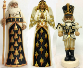 """Black & Gold Santa, Angel & Nutcracker"" H27cm Set van 3 Jim Shore beelden"