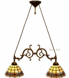 8828  Hanglamp B75cm met 2 Tiffany kappen Ø26cm Victoria