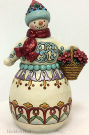 """Wonderland Snowman Holding Basket"" H21 Jim Shore 6001421"