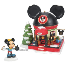 Mickey's Ear Hat Shop H19cm & Mickey Figurine- Set van 2  - Disney Village by Possible Dreams