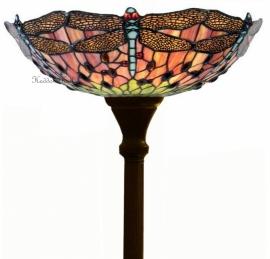 5415 Vloerlamp H180cm met Tiffany kap Ø40cm Red Green Dragonfly