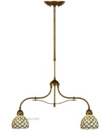 5879 700 Hanglamp B75cm met 2 Tiffany kappen Ø25 Creme Pearl