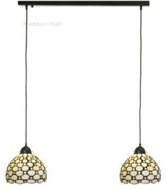 5879 Balk B80cm met 2 Tiffany kappen Ø20cm Creme Pearl