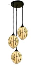8109 Hanglamp met 3 Tiffany kappen Ø20cm Nature