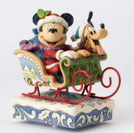"""Mickey & Pluto H16cm """"Laughing All The Way"""" Musical Jim Shore 4052003"""