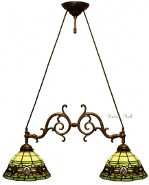 5803 Hanglamp B75cm met 2 Tiffany kappen Ø25cm Olive