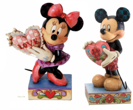"MICKEY & MINNIE  ""With Heart""  H11cm Set van 2 Jim Shore beeldjes uit 2012"