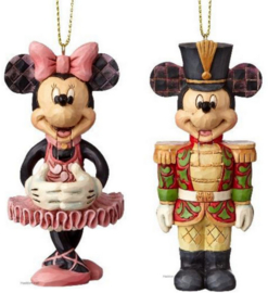 MICKEY & MINNIE Nutcracker H10cm Set van 2 Jim Shore Hanging Ornaments
