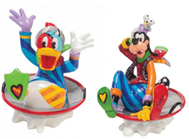 Set van 2 Mini figurines H8cm Ø8cm Donald & Goofy in Disc Sled