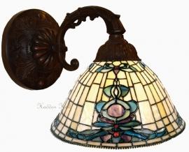 9004  Wandlamp met Tiffany kap Ø26cm Blue-Oyster