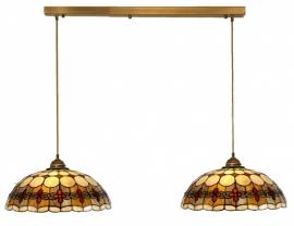 5416 Balk Lichtbrons met 2 Tiffany kappen Ø40cm Victoria