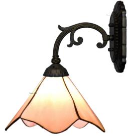 5742 Wandlamp Grijs met Tiffany kap Ø25cm Plain Pink