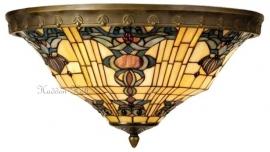 5551 80 Plafonniere Plafondlamp Tiffany Ø50cm met ring Blue-Oyster