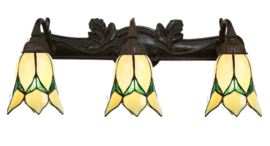 8104 Wandlamp B70cm met 3 Tiffany kappen Ø13cm Lovely Flower Yellow