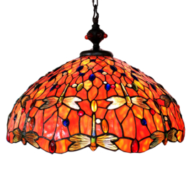 6030 Hanglamp Tiffany Ø60cm Flame Glass  Dragonfly