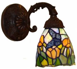 "9307 8829 Wandlamp met Tiffany kap Ø11cm ""Vlinder"" motief"