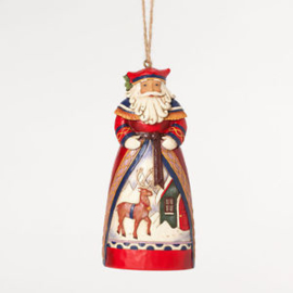 "Set van 2 Hanging Ornament  ""Lapland Santa""&""SIlent Night"" H12cm Jim Shore"