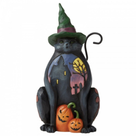 Cat with Scene on Side Pint-Sized Figurine H14,5cm Jim Shore 6006697