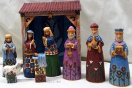 Folklore Nativity  H 24cm 9-delig Kerststal Jim Shore 6001441 Kerstgroep