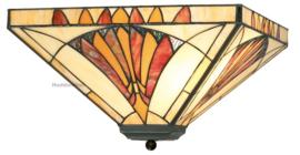 CT10273 Plafonniere Tiffany 36x36cm Art Deco Sun 2xE27