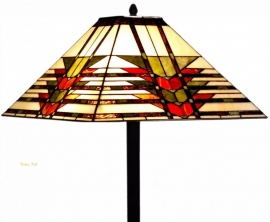 5724 5564 Vloerlamp H164cm met  Tiffany kap 47x47cm Midway  Zwarte voet