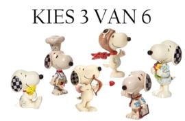 Snoopy Mini Figurines - Set van 3  - Kies 3 van 6