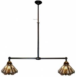 9113 Hanglamp B90cm met 2 Tiffany kapjes Ø25cm