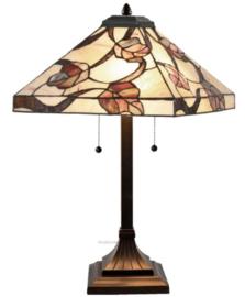 Y14204 Tafellamp Tiffany H58cm 36x36cm Purple Leaves