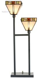 5972 Tafellamp Uplicht H70cm met 2 Tiffany kappen Poiret