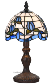 6158 Tafellamp Tiffany H32cm Ø18cm Blauwe Tulp