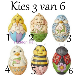 Holiday Eggs Kies 3 van 6 Jim Shore eieren 6003620 uit 2016 handpainted