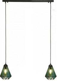 8114  Balk B80cm met 2 Tiffany kappen Ø16cm Arata Green