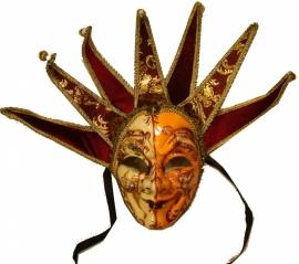 "545 Venetiaanse Masker ""Clown"" Creme-Oranje"