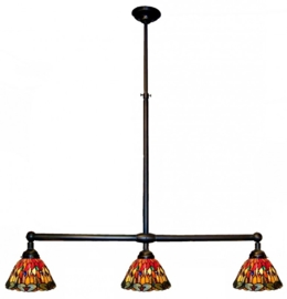 7808 Hanglamp B90cm met 3 Tiffany kapjes Ø25cm Red Glass Dragonfly