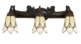 8100 Wandlamp B70cm met 3 Tiffany kappen Ø15cm Lovely Flower White