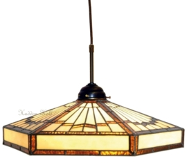 5736 345 Hanglamp Textielsnoer met Tiffany Ø40cm Art Deco motief