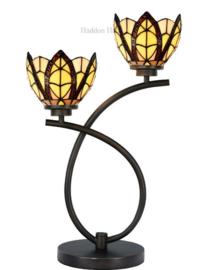 8119 Tafellamp Tiffany H55cm met 2 Tiffany kappen Ø15cm Flow Souplesse