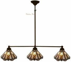 9113 Hanglamp B90cm met 3 Tiffany kapjes Ø25cm Art Deco