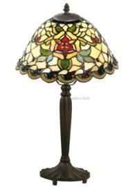 9114 Tafellamp Zwart H47cm met Tiffany kap Ø26cm Santana
