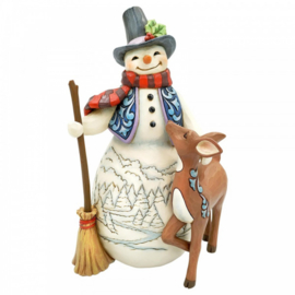 Snowman and Deer - 4th in Snowman and Friends Series H21cm Jim Shore 6005913