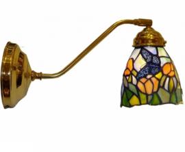 9307 183 Wandlamp Messing met Tiffany kapje
