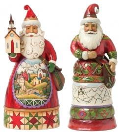 """Set van 2 Kerstmannen """"Grace At Christmas Time"""" & """"Kindly Kris Kringle"""" H24cm Jim Shore"""