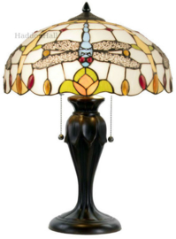 5945 Tafellamp Bruin H58cm met Tiffany kap Ø40cm Mavi