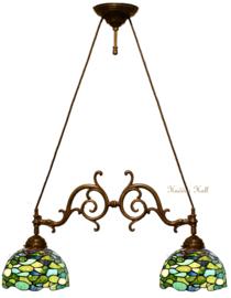 8124 Hanglamp met 2 Tiffany kappen Ø25cm Hortensia