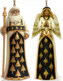 """Black & Gold Santa & Angel"" H12cm Set van 2 Jim Shore Hanging Ornaments"